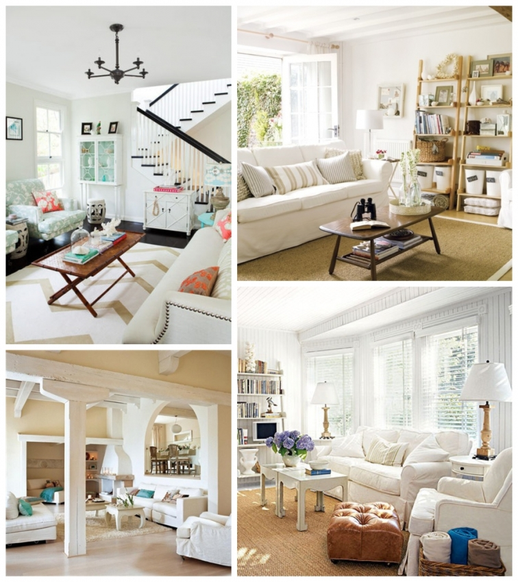 Coastal Chic Living Room Slipcovered couches white emily thorne inspired living room Pottery Barn Ikea couches