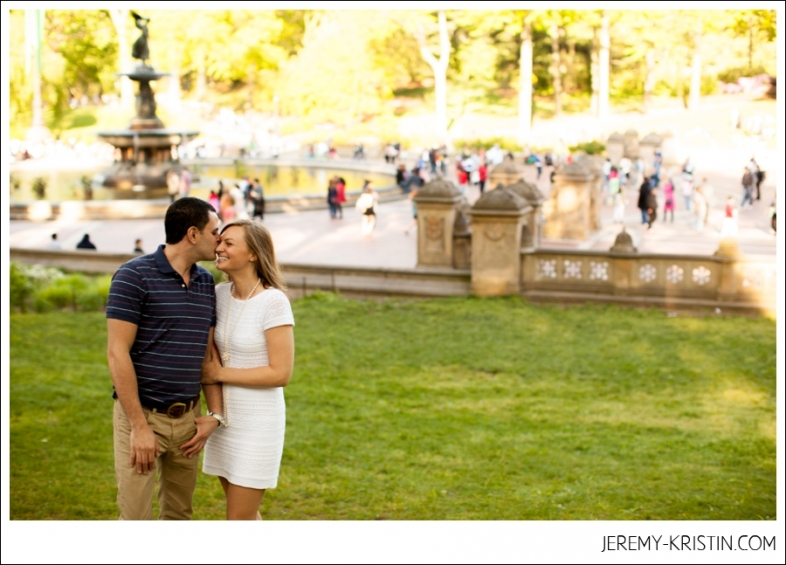 Bethesda fountain engagement photo