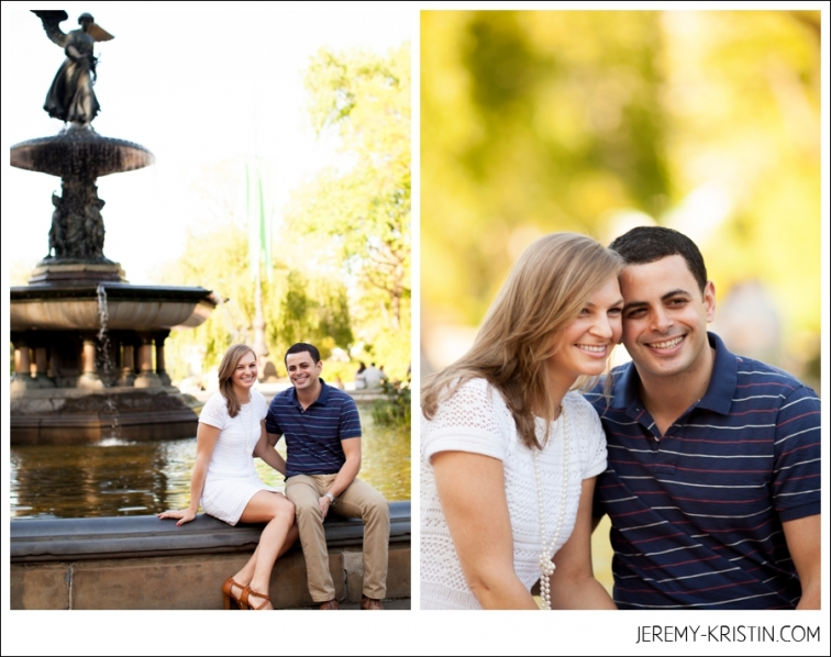 couple sits at Bethesda Fountain in NYC for Engagement Session photo
