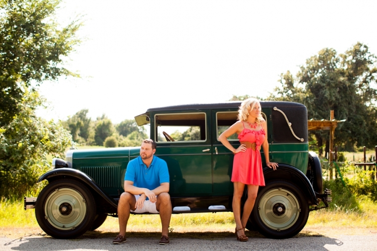 A & M Gardens Vintage Car Engagement Session Photographer