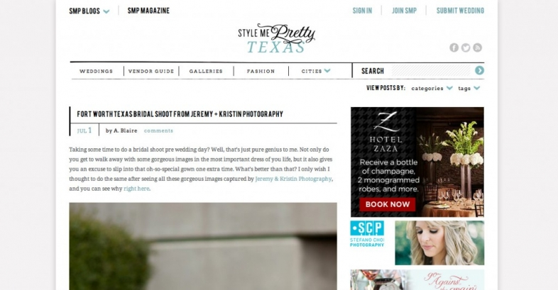 Fort Worth Wedding Photographers on Style Me Pretty Photo